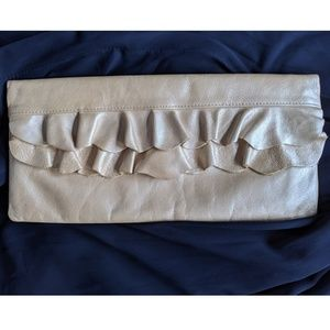 Hobo Ruffle Foldover Gold Leather Clutch